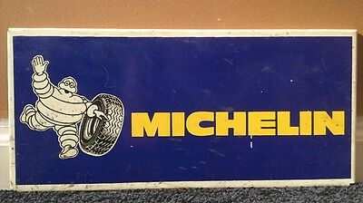 "Vintage Original Scarce Michelin Tires W/ Man! 14.5"" X 7"" Gas & Oil Rack Sign!!"