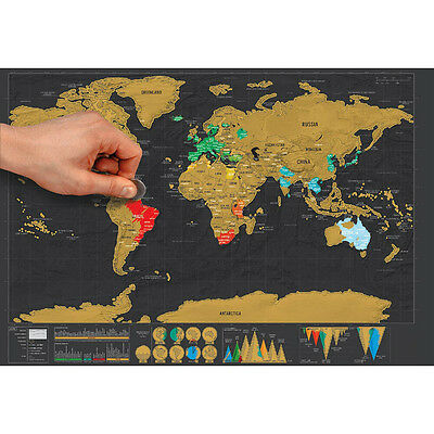 New Deluxe Travel Edition Scratch Off World Map Poster Personalized Journal Log.