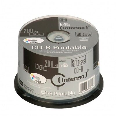 """B0176943 Confezione Cd-R Intenso 700Mb 50Pcs Cakebox """"printable Inkjet""""  52 [180"""