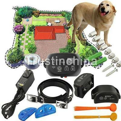 UK Newest Electric Dog Fence 2 Wireless Shock Collar Waterproof Hidden System