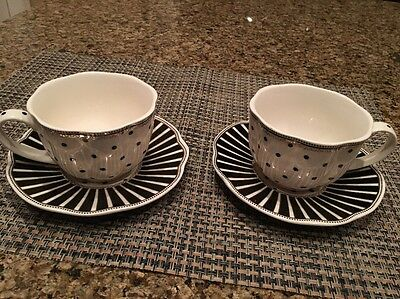 Grace's Teaware Black And White Candy Stripe Tea Cup And Saucer Set Of 2