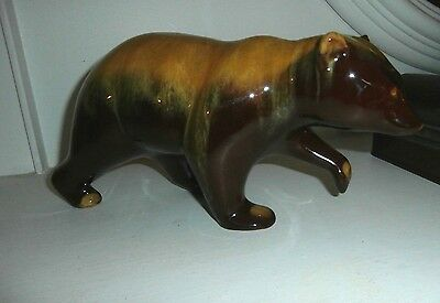 Vintage Blue Mountain Gold Walking Bear figurine 11 inches