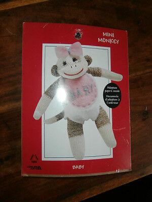 Mini Monkey Baby Leisure Arts sock monkey kit embroidery 5 inches NEW