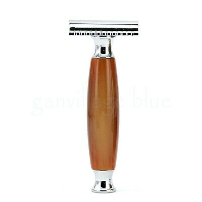 ZY Traditional Manual Double Edge Safety Razor Alloy Imitation Agate Nice Handle