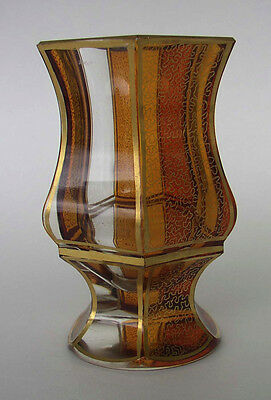 VINTAGE MOSER PANELED CUT CLEAR AMBER VASE w/ GOLD ACCENTS