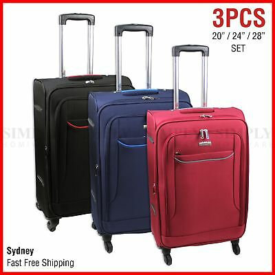 Luggage 3 Piece Set Soft Suitcase Travel 4 Wheel Black Carry On Bag Case Trolley