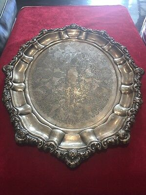 Vintage Genuine Viners Silverplate Silver Plated Dish Plate Platter