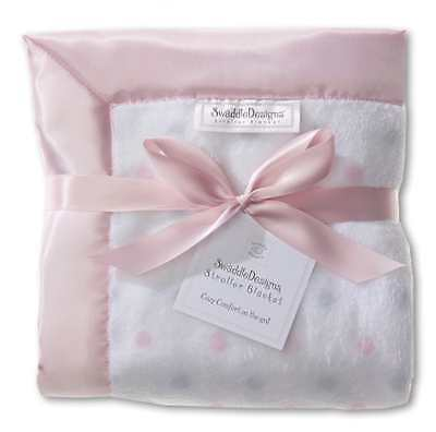 Sterling And Pastel Dots Stroller Blanket By Swaddle Designs New, Pink