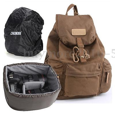 Caden DSLR Camera Laptop Canvas Backpack Bag For Canon Nikon Sony Pentax NSW