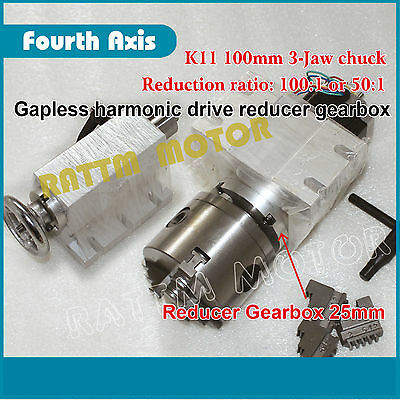 Rotary 4th axis Gapless Harmonic Reducer Gearbox 3 jaw K11-100mm Tailstock CNC