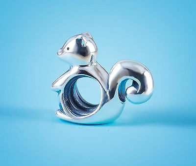 Genuine SOLID 925 Sterling Silver charm bead lucky  squirrel SS fits bracelet