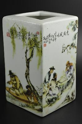 """Collectibles Porcelain Hand Painting""""Figure Old Chinese Characters"""" Brush Pot"""