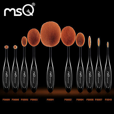 MSQ PRO 10PCs Oval Toothbrush Makeup Brushes Set Foundation Powder Cosmetic Tool