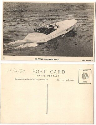 MISS ENGLAND II, SIR HENRY SEGRAVE World Water Speed, Windemere RP 1930 #24