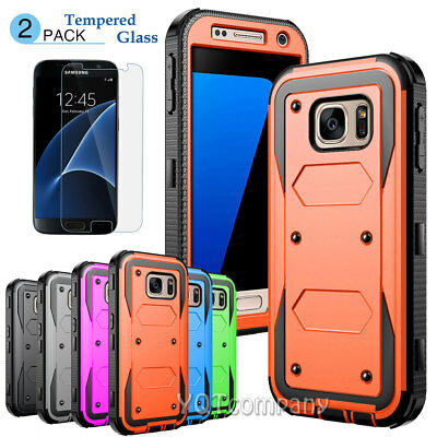 Shockproof Rugged Armor Slim Hybrid Hard Protective Case Cover w/ Tempered Glass