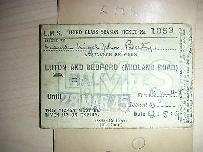 LMS RLY SEASON LUTON & BEDFORD (MIDLAND ROAD ) 1053  Dated 28th MAR45  HALFRATE
