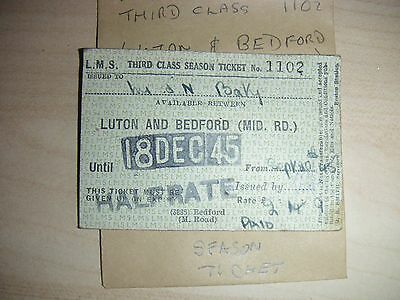 LMS RLY SEASON LUTON & BEDFORD (MID RD ) 1102  Dated 18th DEC45  HALFRATE