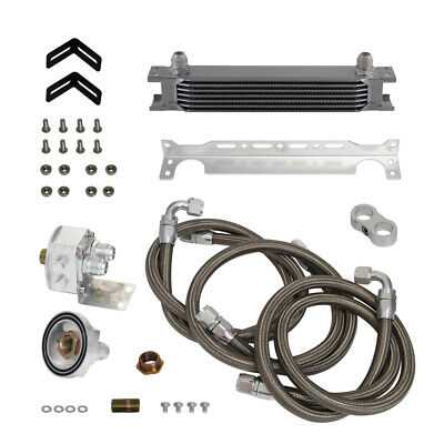 7 Row AN10 Universal Engine Oil Cooler + Filter Relocation Adapter Hose Kit Blue