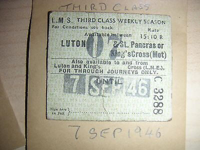 LMS RLY SEASON LUTON & ST.PANCRAS or KING,S CROSS (MET)  C3288  Dated 7th SEP46