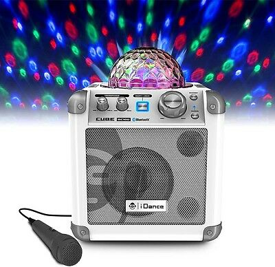 Bluetooth Karaoke Music System White Stereo Disco Light Ball Microphones Aux-In
