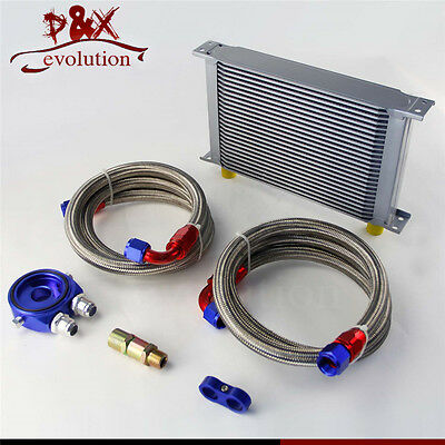 25 Row AN10 Universal Engine Oil Cooler w/ Oil Lines + Filter Adapter Blue
