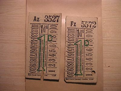 UK EARLY 1950s Bournmouth Corp Trans  1d bus tickets minor scuffs 2 item