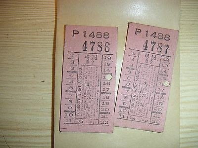 UK EARLY 1950s Plymouth Joint Services  1 1/2d bus tickets minor scuffs 2 items