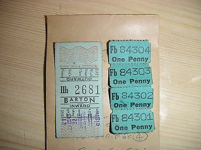 UK EARLY 1950s Barton Transport Ltd Chilwell 1d & 8d bus tickets scuffs 2 items