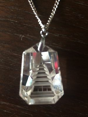 Pretty Antique Art Deco Style Carved Chinese Pagoda Glass Drop Necklace