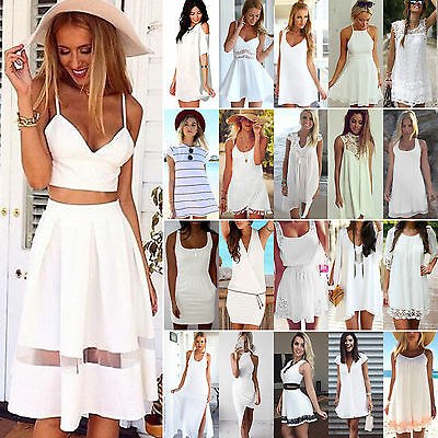 WHITE DRESS Womens Summer Holiday Casual Evening Cocktail Party Beach Mini Dress