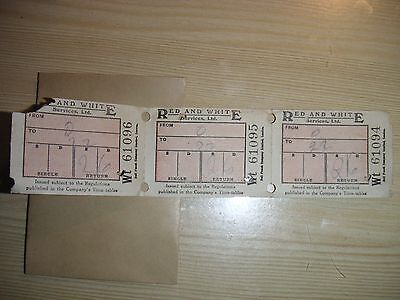 UK EARLY 1950s Red & White Services Ltd 2/6d bus tickets minor scuffs 2 items