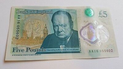 New Rare AA16 £5 Five Pound Note Polymer