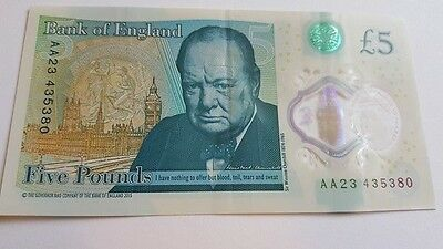 New Rare AA23 £5 Five Pound Note Polymer