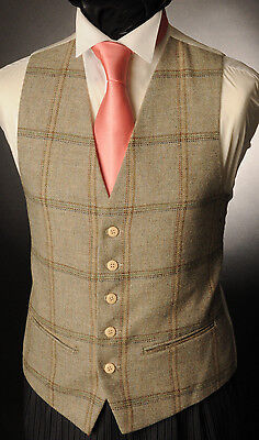 Wt-4 Mens/boys Pale Green Tweed Checked Waistcoat Casual / Wedding /formal /