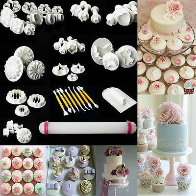 46pcs Sugarcraft Cake Cupcake Decoration Fondant Icing Plunger Cutters Tools NEW