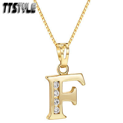 TTstyle 18K Gold GP Letter F Pendant Necklace With 45/60cm Box Chain NEW