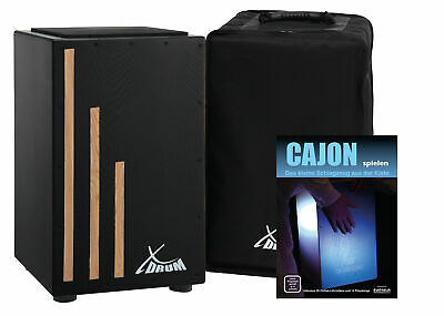 Cajon Hand Percussion Drum Crate Percussive Snare Drumming Box Set Gigbag Black