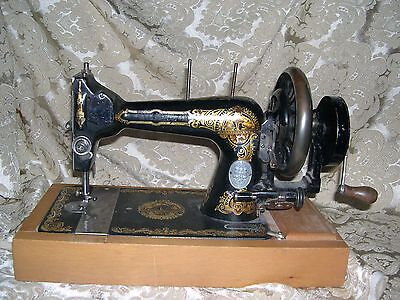 Vintage Antique Winselmann Hand Crank Manual Sewing Machine