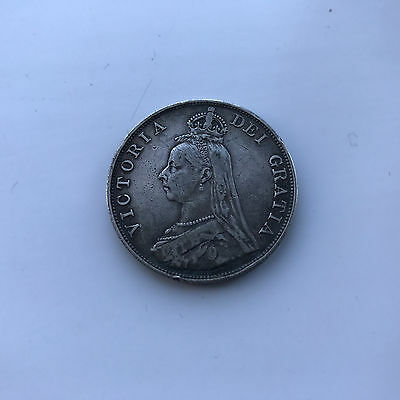Silver Double Florin 1889 Coin Queen Victoria Good Fine Grade