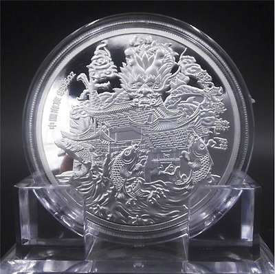 99.99% Chinese 1988 year Shanghai Mint 5oz Silver Coin - Carp leaping