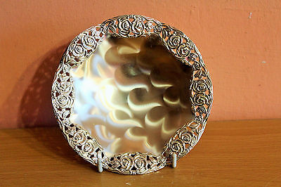 Vintage W Germany Quist Silver Plated Plate, Candy Nut Bowl Ornate Filigree