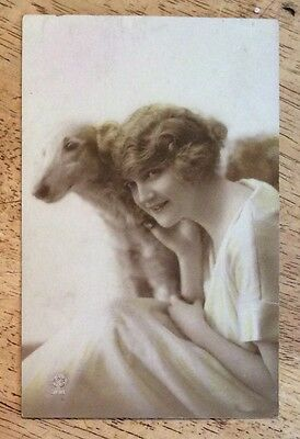 Vintage Postcard 1913 - Beautiful French Woman With A Dog/Hound No 3198