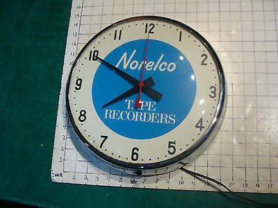vintage NORELCO Tape Recorders Wall Clock,  RARE CLOCK, cord is cut --SESSIONS