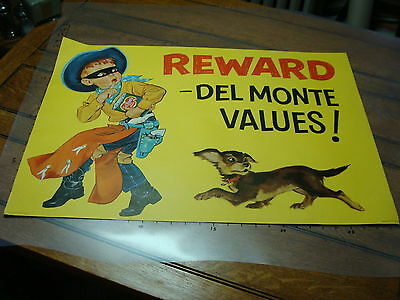 original 1957 COWBOY ADVERTISING SIGN / Poster for Del Monte double sided #3 GUN
