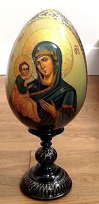 "Large Russian Wood Hand Crafted Icon -Egg ""Our Lady Of Jerusalem"" Signed 15.5"""
