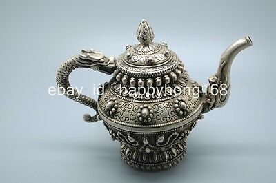 china collectible delicate handwork old tibet silver carve dragon teapot