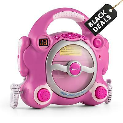 Auna Pocket Rocket Karaoke Machine Cd Player Singalong With 2 Microphones Pink