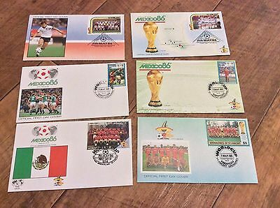 6 x MEXICO 86 WORLD CUP  FIRST DAY COVERS EXCELLENT CONDITION