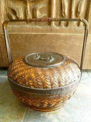 Antique Vintage Chinese Wicker & Bamboo Wedding or Storage Basket