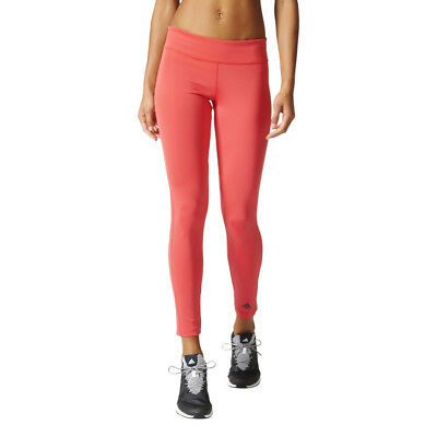 Adidas D2M Womens Pink Climalite Training Gym Long Tights Bottoms Pants